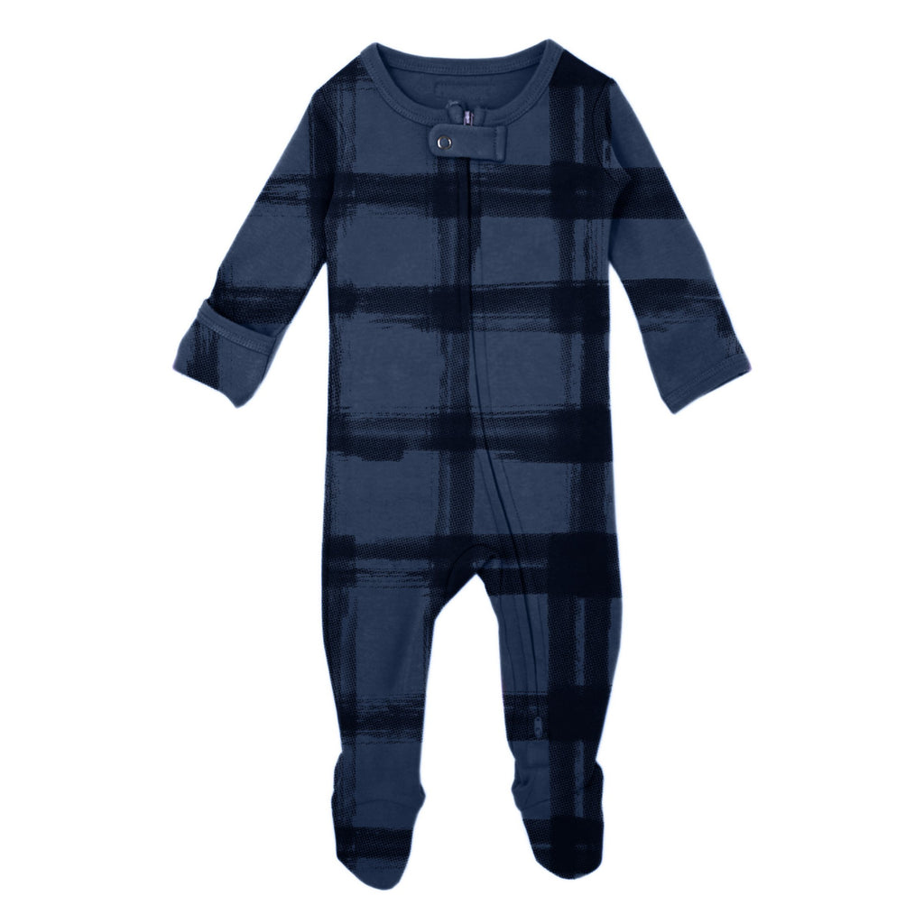 Abyss Plaid Organic Footed Overall - Project Nursery