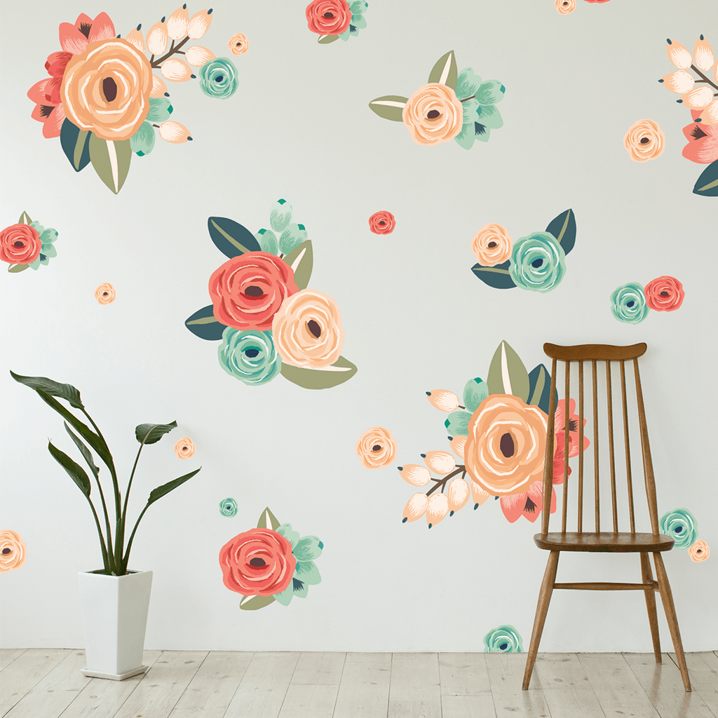 Graphic Flower Cluster Wall Decals Coral - The Project Nursery Shop - 1