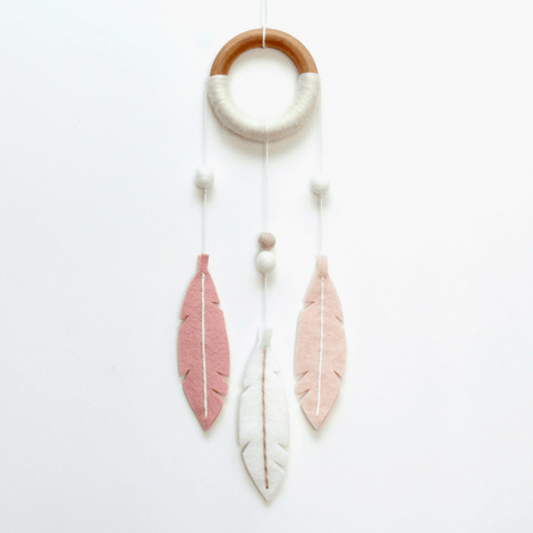 Blush Cloud & Moon Mobile in Gold