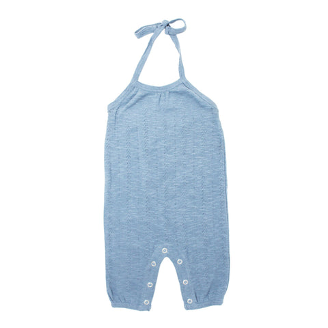 Kids Organic Cotton Pointelle Halter Tank - Stone
