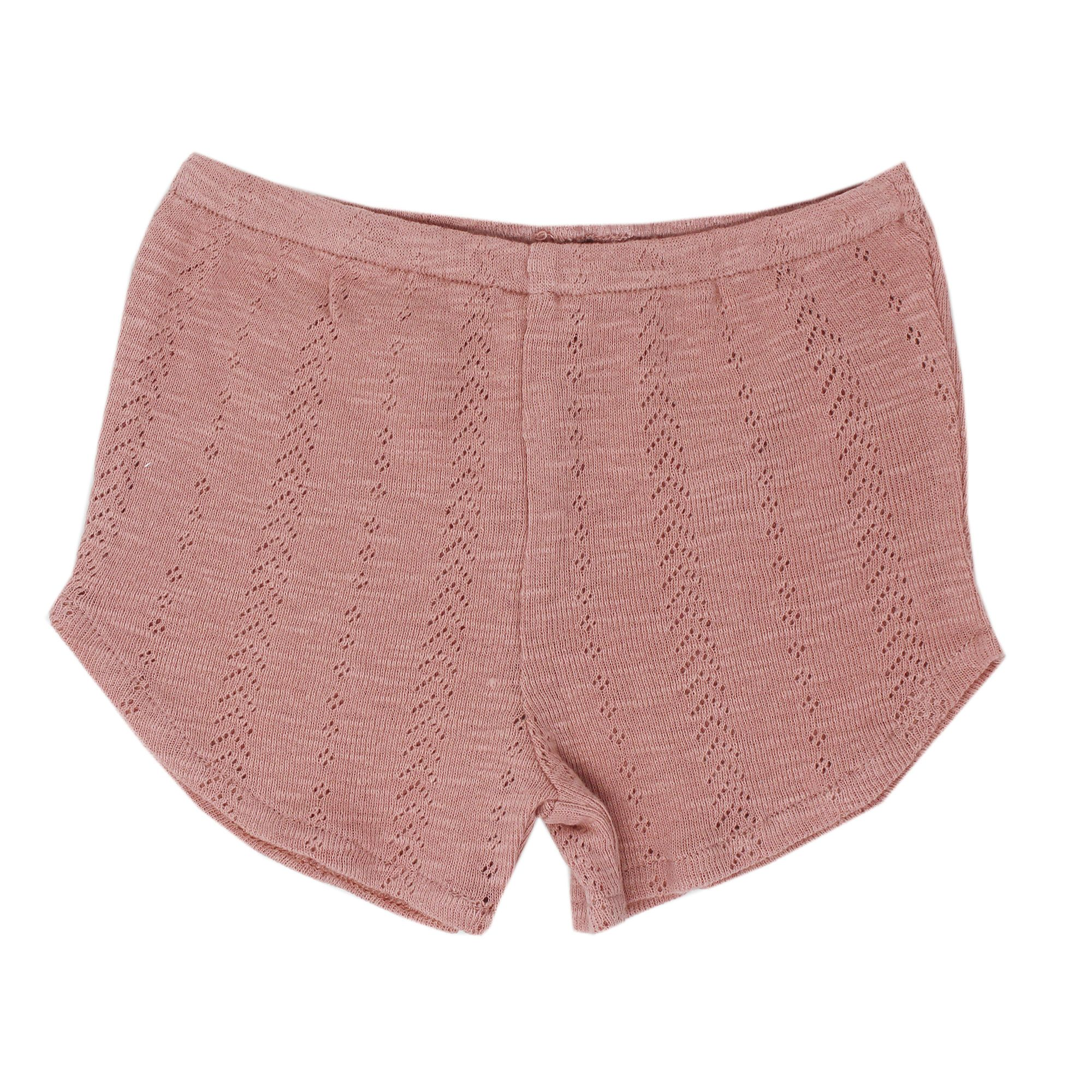 Kids Organic Cotton Pointelle Tap Shorts - Mauve - Project Nursery