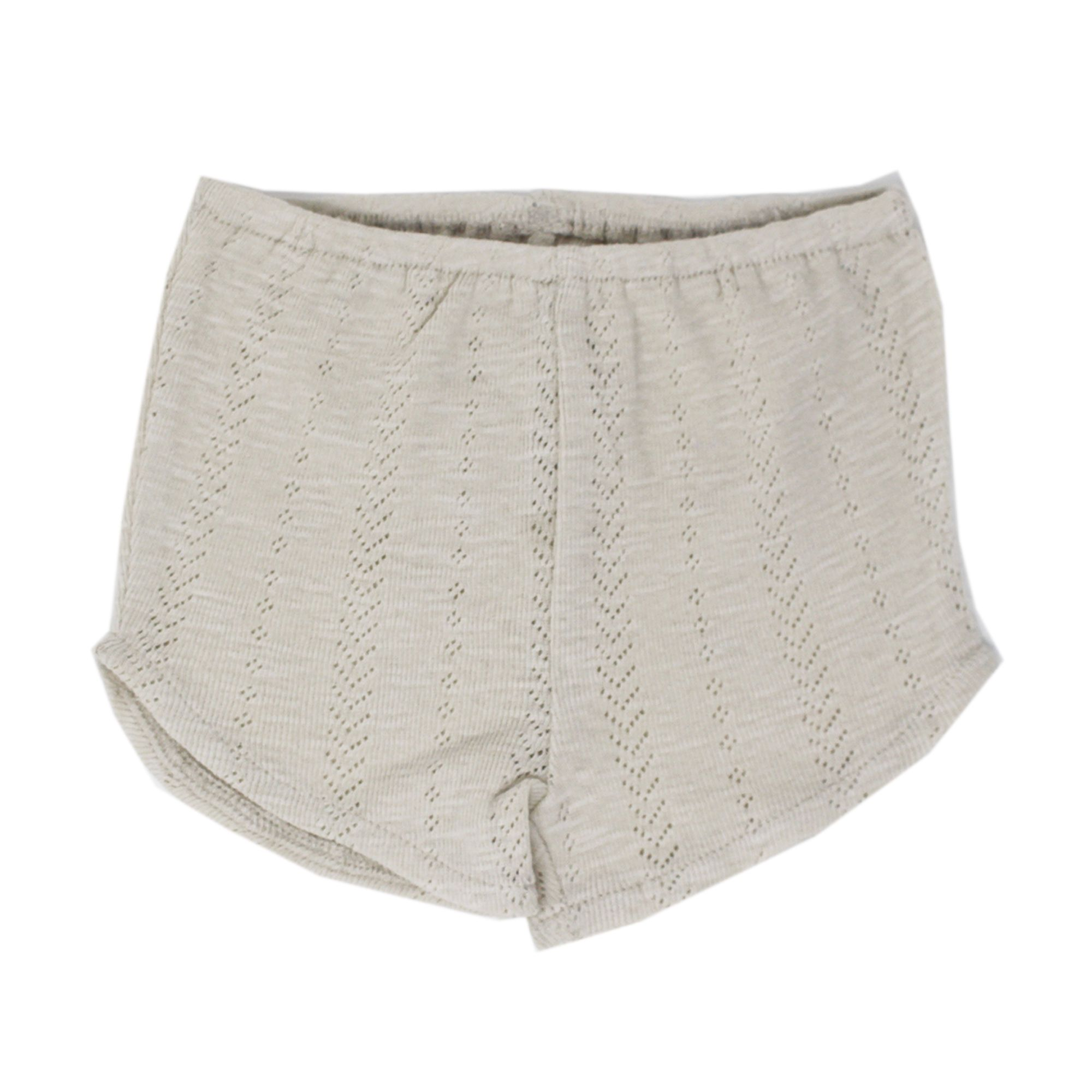 Kids Organic Cotton Pointelle Tap Shorts - Stone - Project Nursery