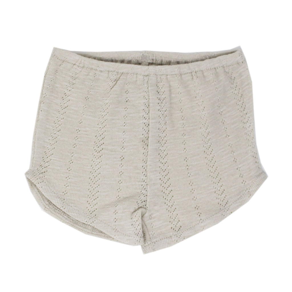 Organic Cotton Pointelle Tap Shorts - Stone - Project Nursery