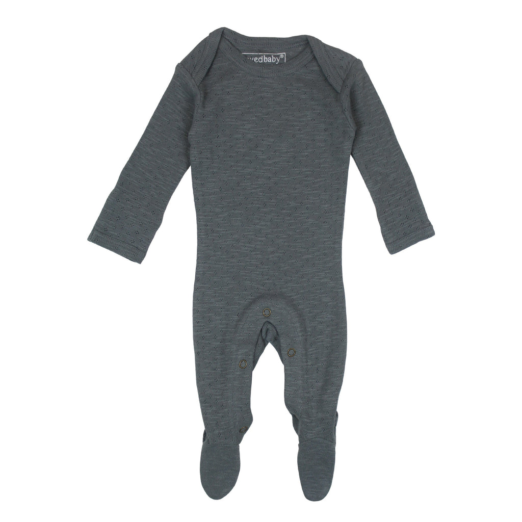 Organic Cotton Pointelle Shoulder Footie - Moonstone - Project Nursery