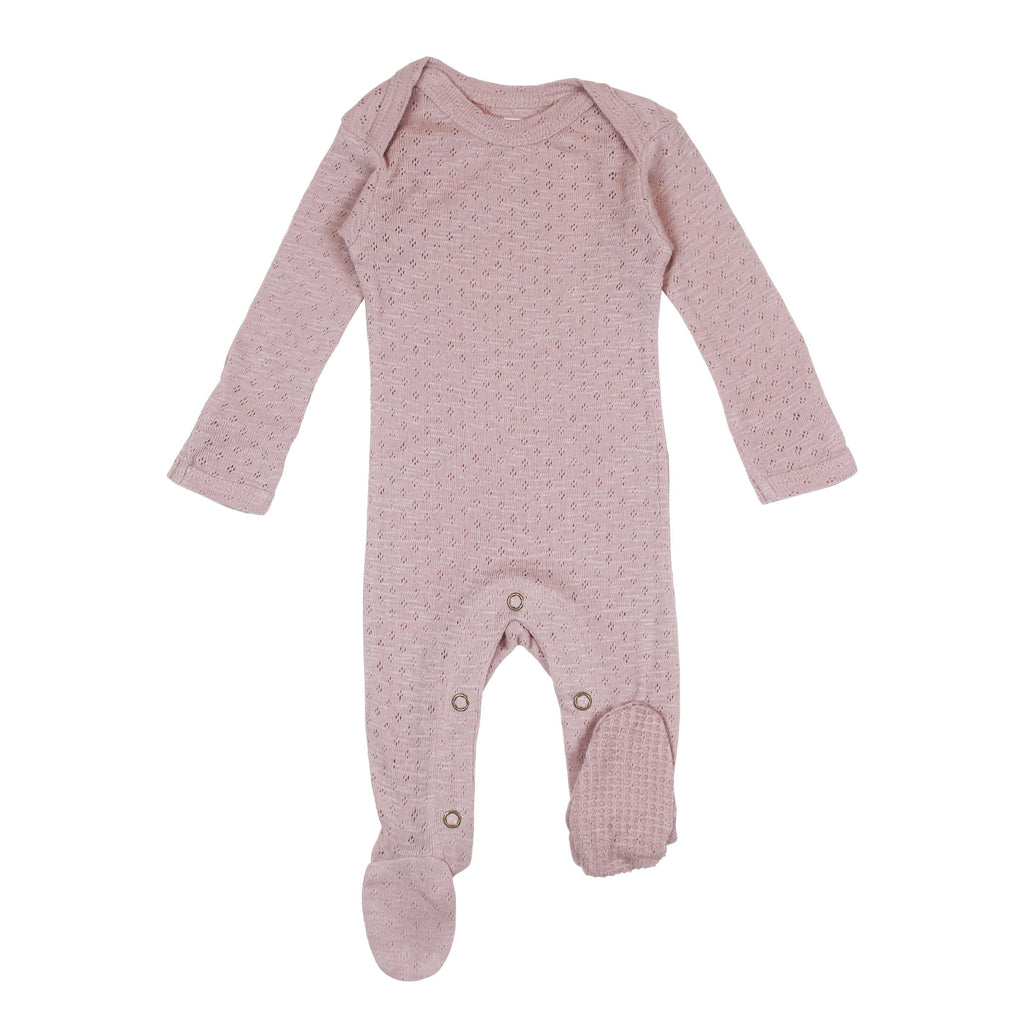 Organic Cotton Pointelle Shoulder Footie - Thistle - Project Nursery
