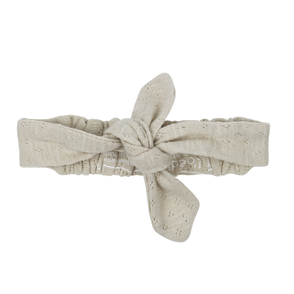 Organic Pointelle Tie Headband - Stone - Project Nursery