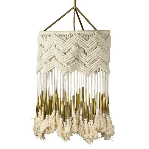 Pinnacles Macrame Pendant in White - Project Nursery