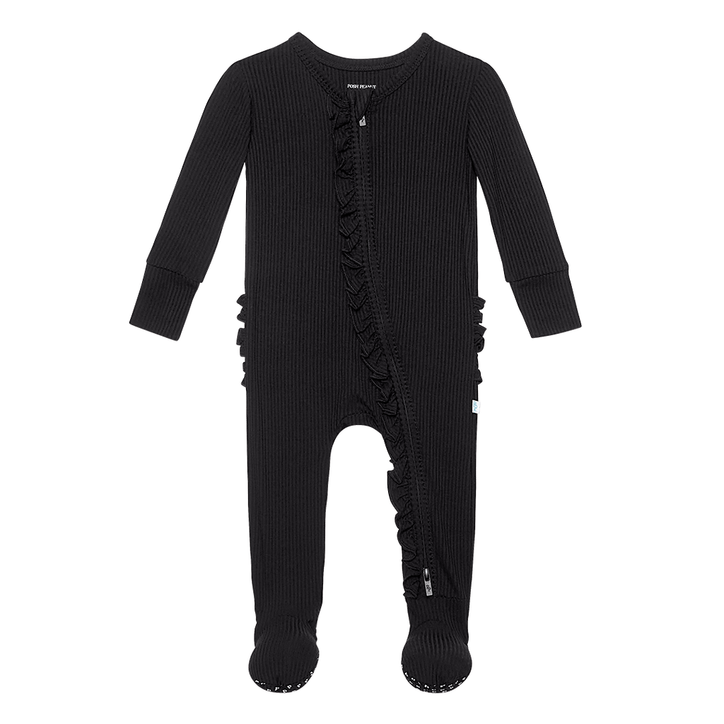 Black Ribbed Footie Ruffled Zippered One Piece - Project Nursery