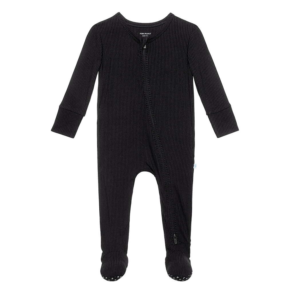 Black Ribbed Footie Zippered One Piece - Project Nursery