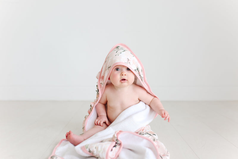 Ruffled Hooded Towel - Vintage Pink Rose - Project Nursery