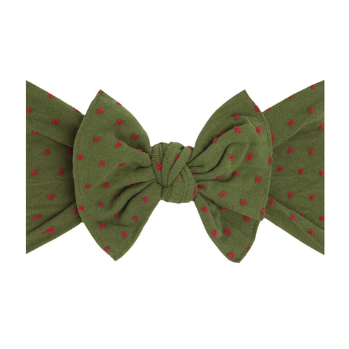Hunter Green with Red Dots Patterned Shabby Knot - Project Nursery