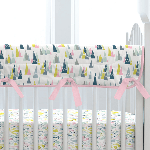 Pink Mountains Crib Rail Cover - Project Nursery