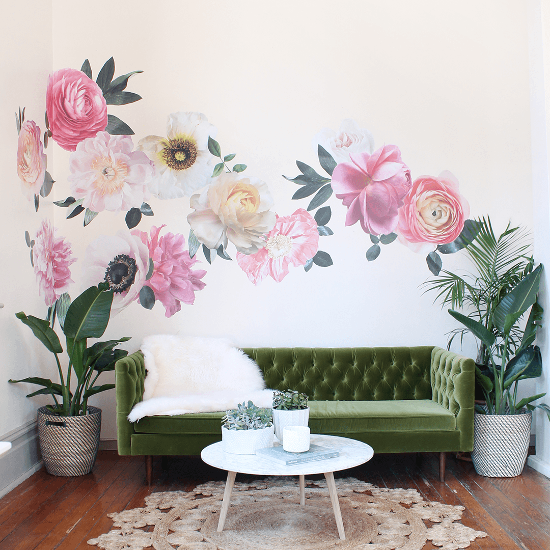 Superb Pastel Garden Flowers Wall Decals   Project Nursery