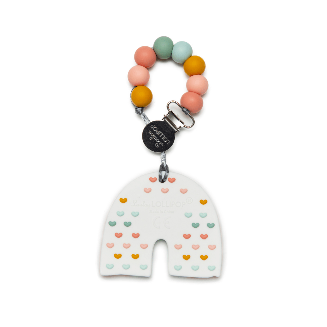 Pastel Rainbow Silicone Teether with Clip - Project Nursery