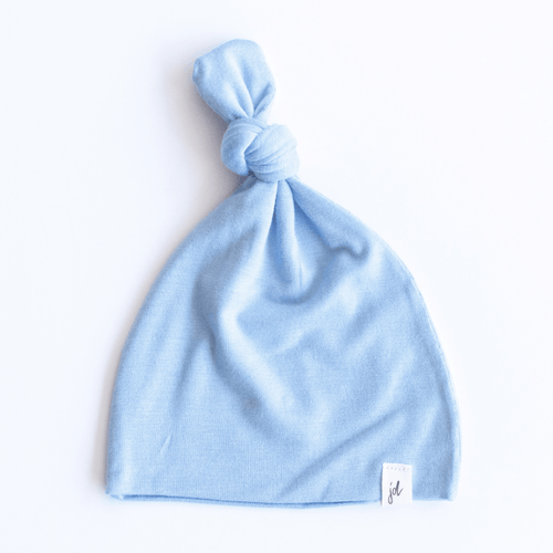 Solid Periwinkle Blue Top Knot Hat - Project Nursery