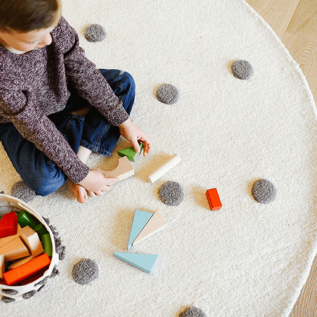 Grey Pom Pom Rug - Multiple Sizes - Project Nursery