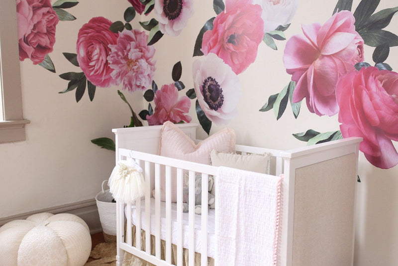 Mixed Pink Garden Flower Wall Decals - Project Nursery