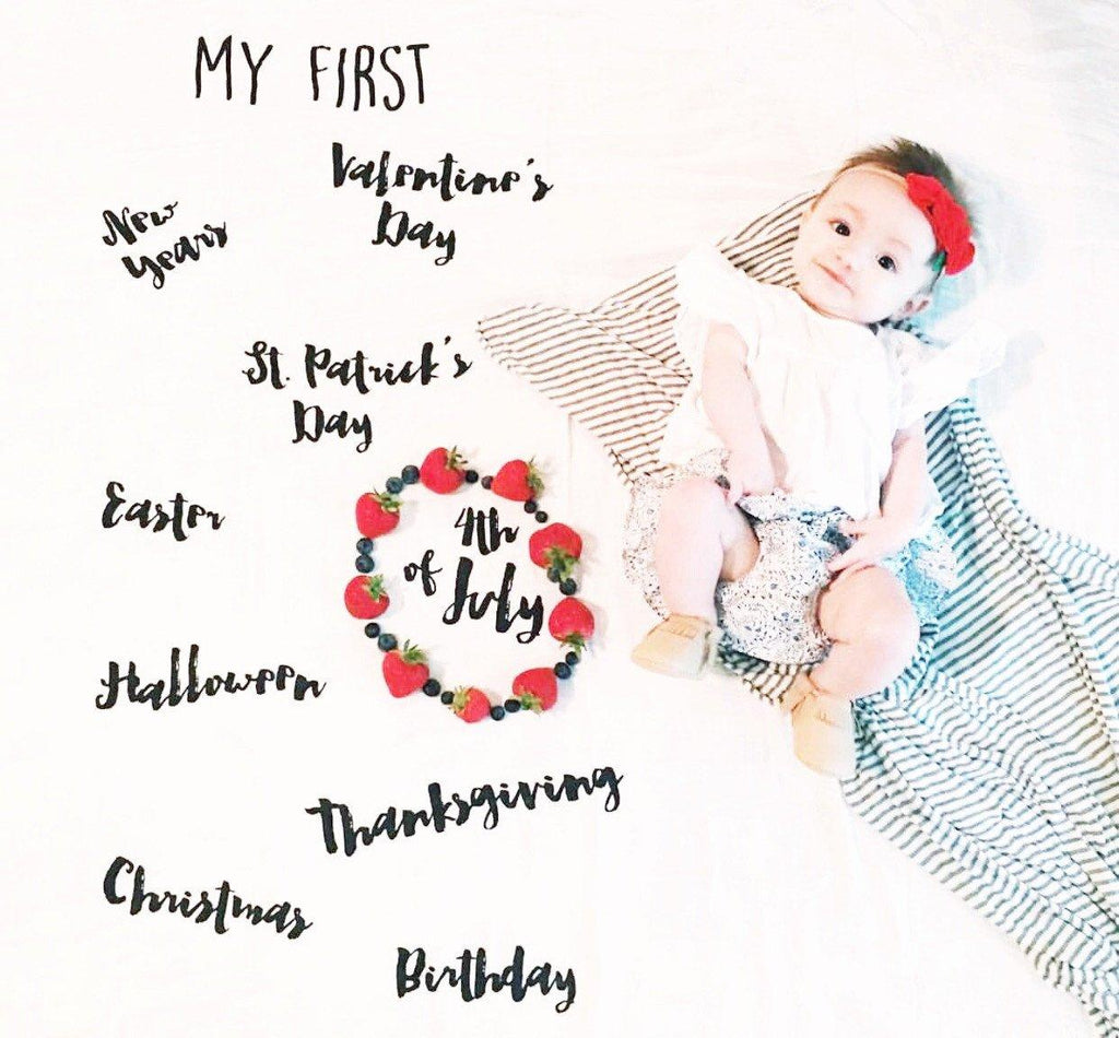 """My First"" Holiday Cotton Muslin Swaddle Blanket  - The Project Nursery Shop - 6"