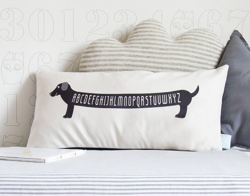 abc dachshund pillow cover – shop project nursery -  abc dachshund pillow cover  the project nursery shop