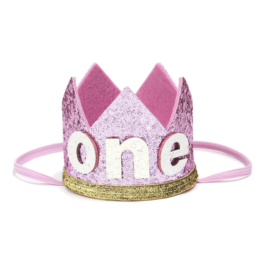 Birthday Party Crown - Pink + Gold Glitter - Project Nursery