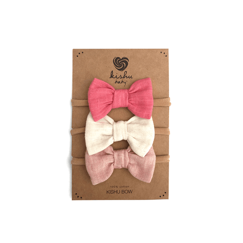 Solid Baby Bow Set - Peach