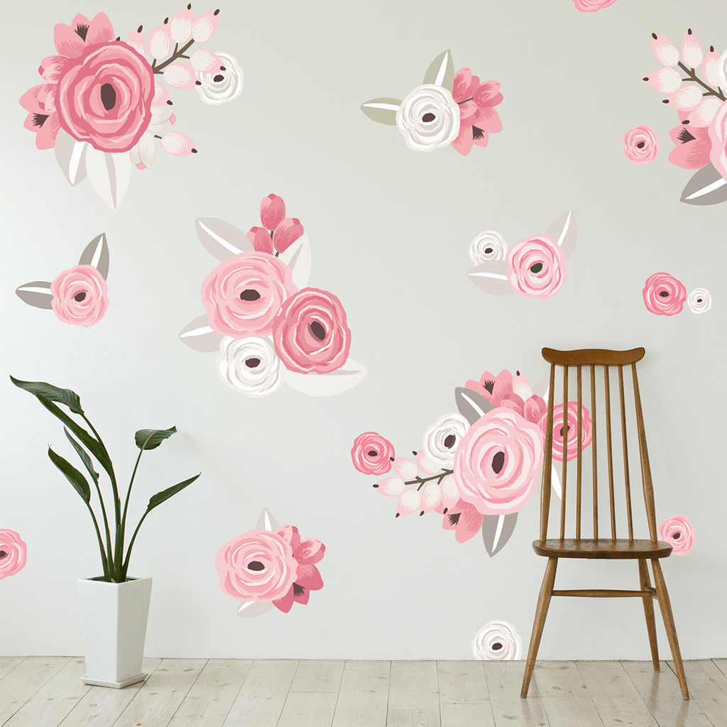 Graphic Flower Cluster Wall Decals Pink - The Project Nursery Shop - 3