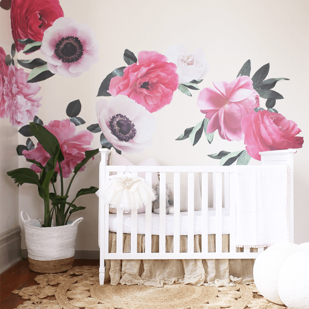 Lovely Mixed Pink Garden Flower Wall Decals