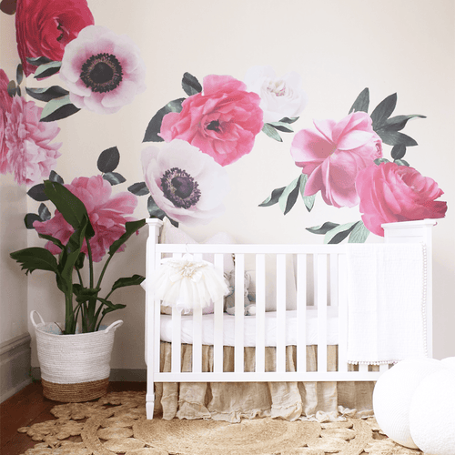 Mixed Pink Garden Flower Wall Decals
