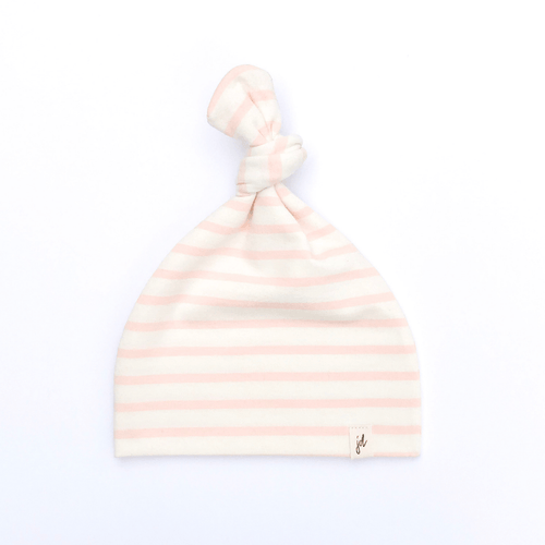 Pink Stripe Top Knot Hat - Project Nursery