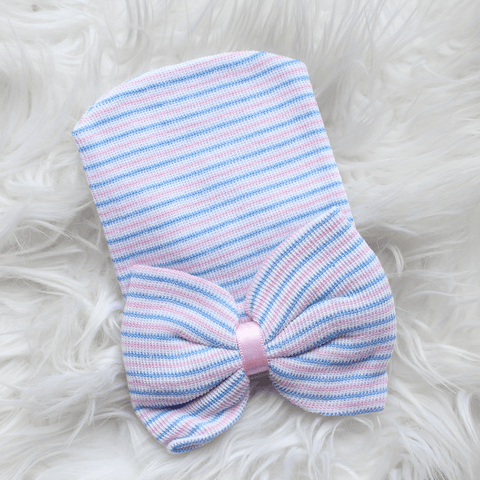 Newborn Hospital Hat - Blue Stripe with Bow
