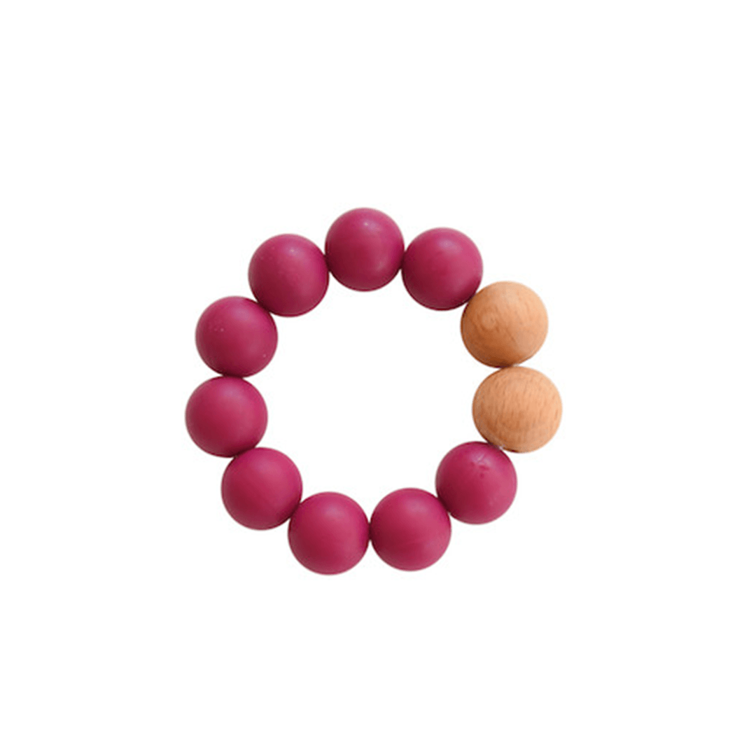 Silicone + Wood Teether Toy - Plum
