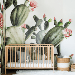 Prickly Pear Cactus Wallpaper Mural - Project Nursery