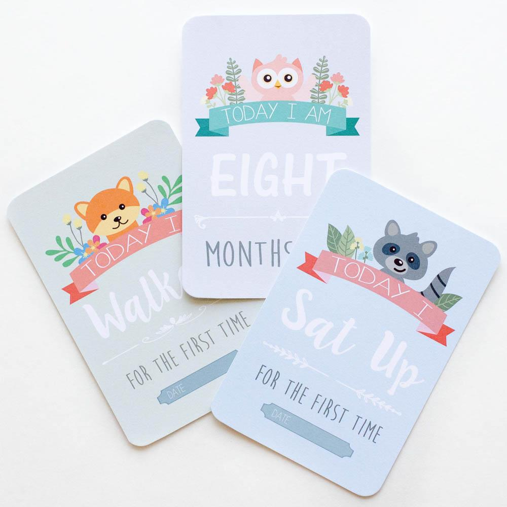 Baby Milestone + Moment Cards - Unisex Woodland Collection - Project Nursery