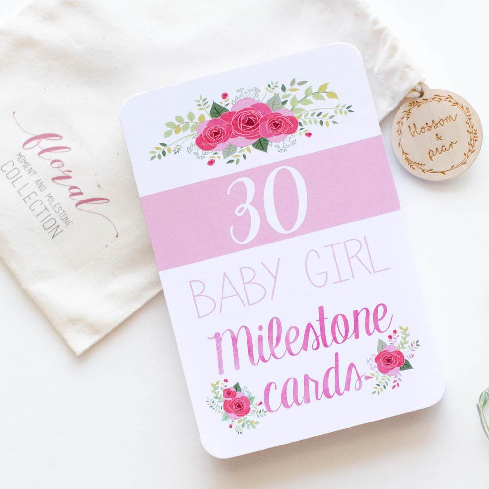 Baby Milestone + Moment Cards - Baby Girl Floral Collection - Project Nursery