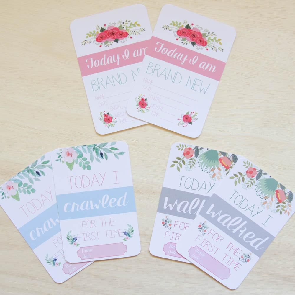 twin baby milestone moment cards floral collection project nursery