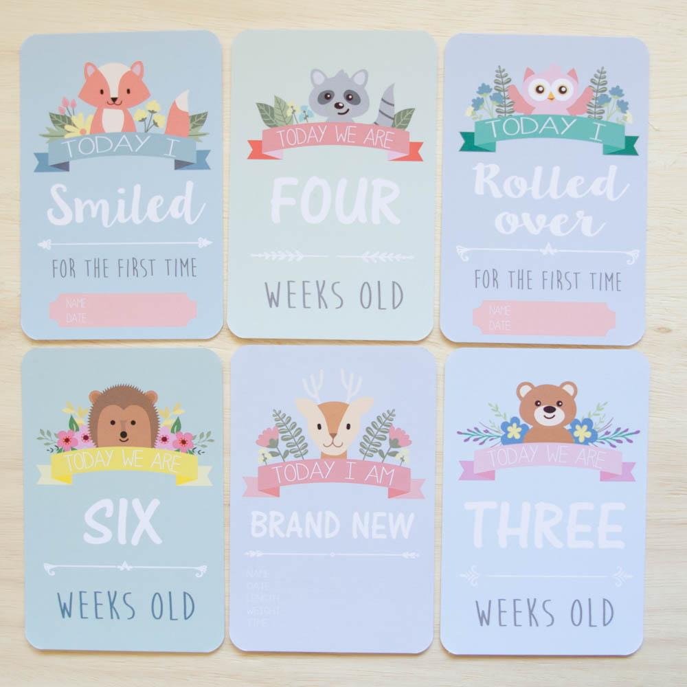 twin baby milestone moment cards woodland collection project