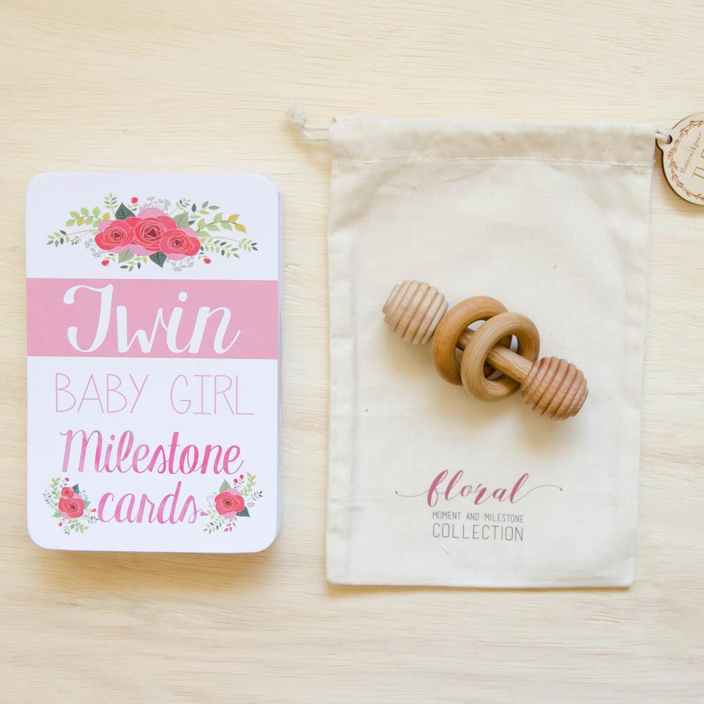 Twin Baby Milestone + Moment Cards - Floral Collection
