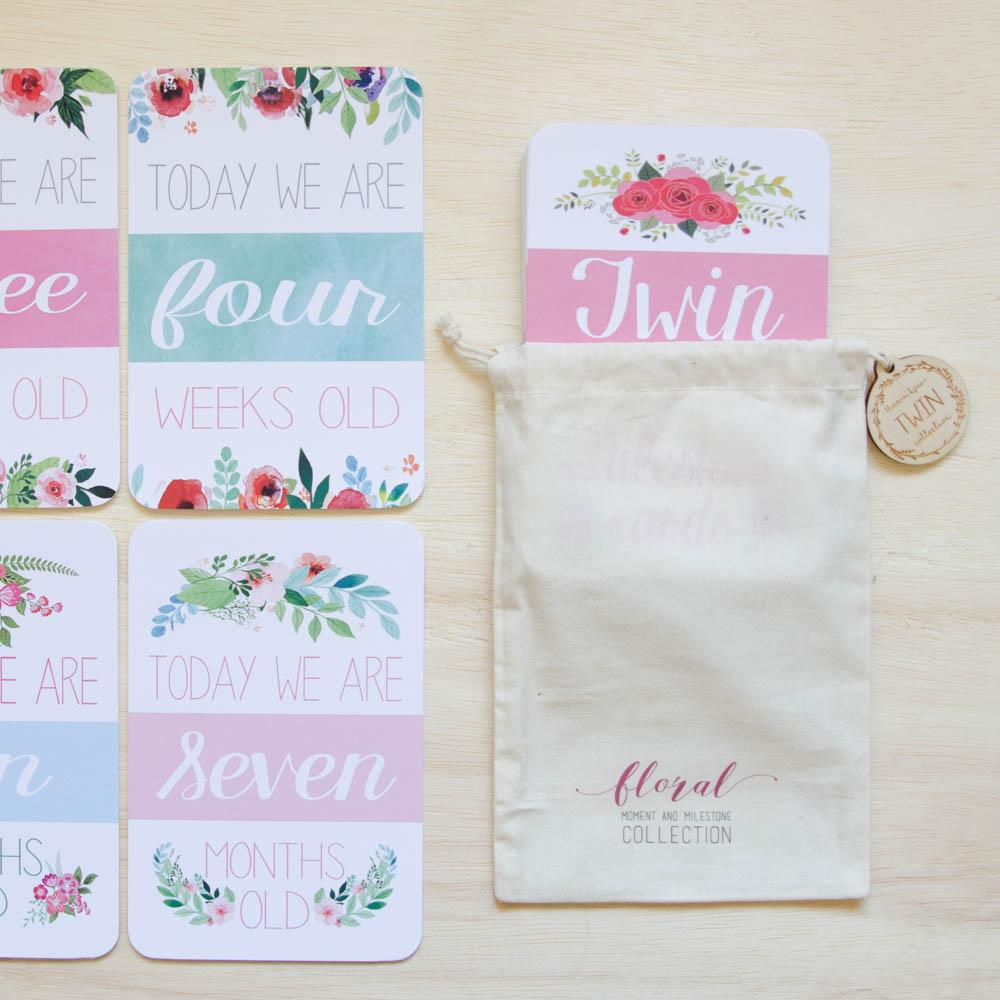 Twin Baby Milestone + Moment Cards - Floral Collection - Project Nursery