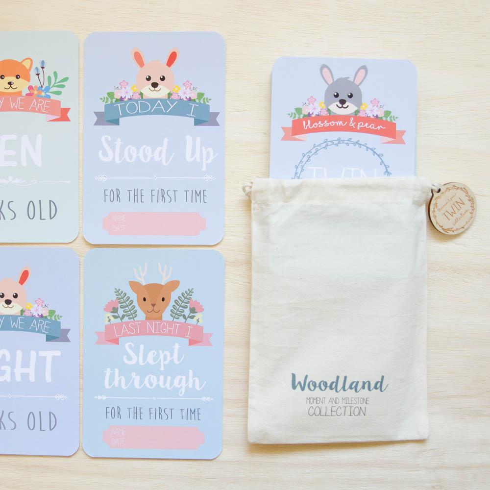 Twin Baby Milestone + Moment Cards - Woodland Collection - Project Nursery