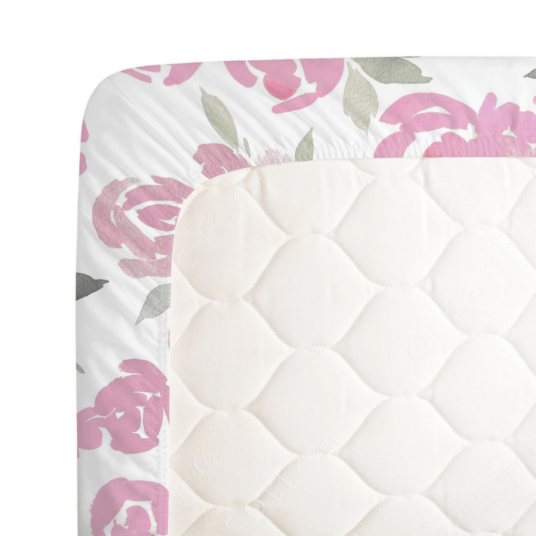 Pink and Gray Watercolor Roses Crib Sheet - Project Nursery