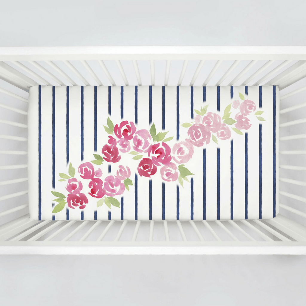 Rose Stripe Centerpiece Crib Sheet - Project Nursery
