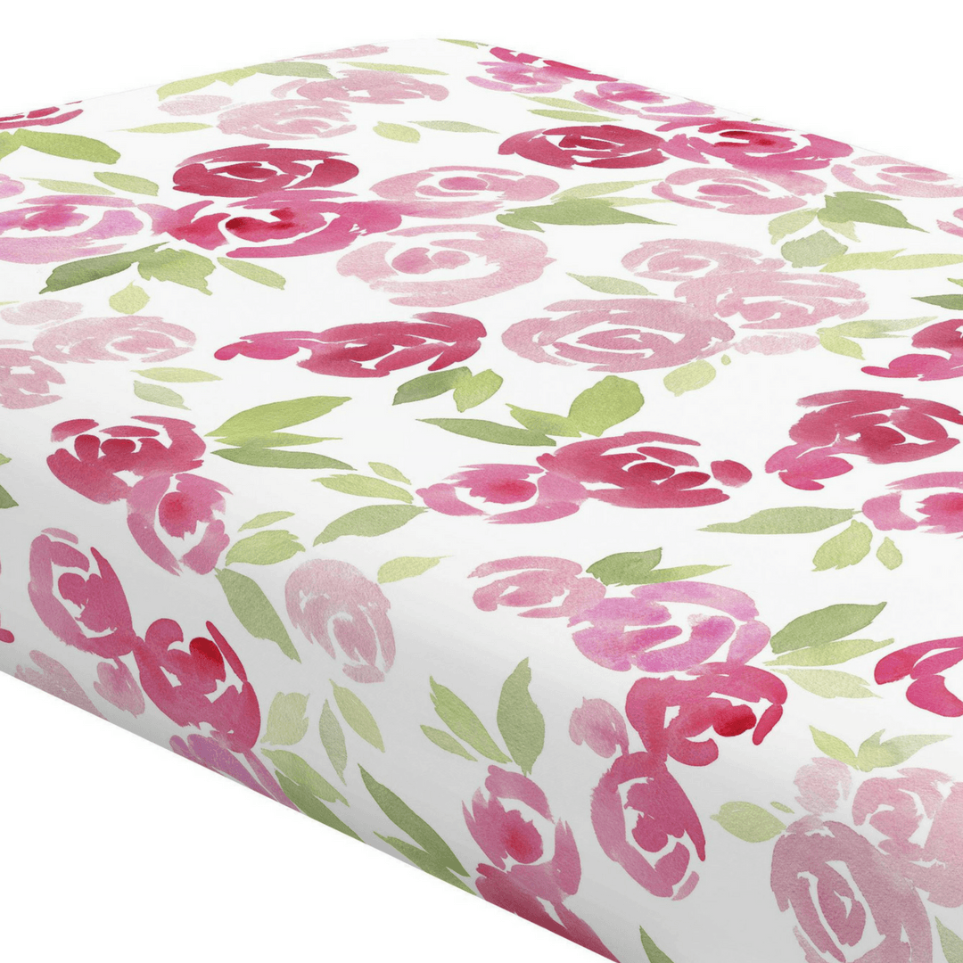 Watercolor Roses Crib Sheet - Project Nursery