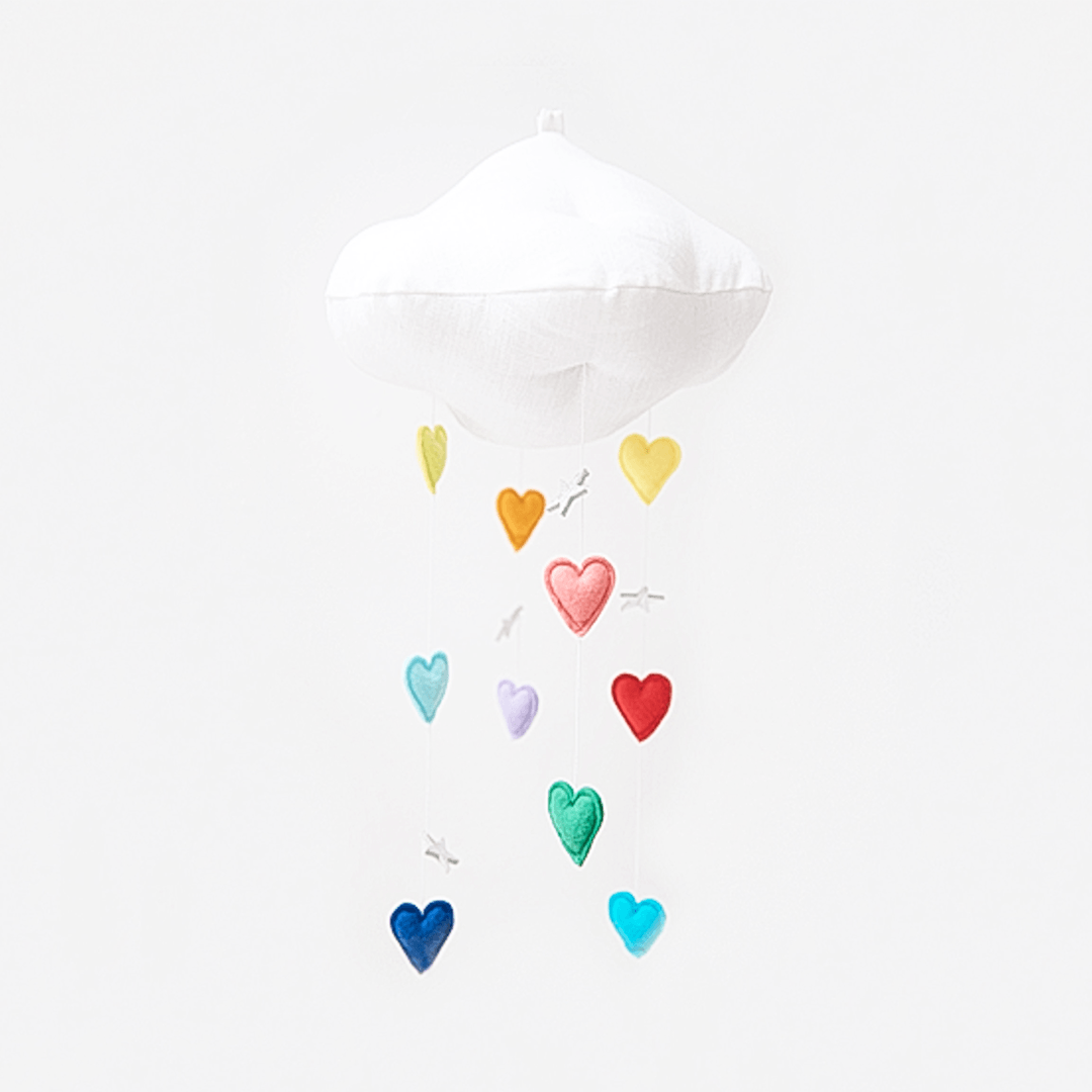 Luxe Cascading Rainbow Heart Cloud Mobile - Bright