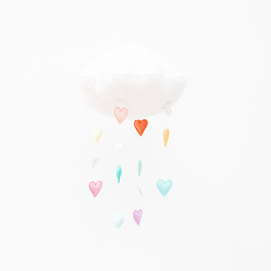 Luxe Cascading Rainbow Heart Cloud Mobile - Pastel