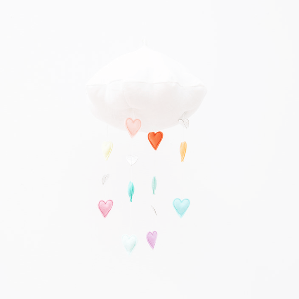 LUXE Cascading Rainbow Heart Cloud Mobile Pastel - The Project Nursery Shop - 2