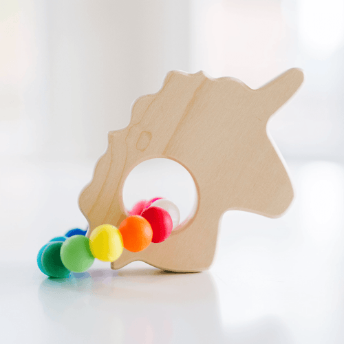 Unicorn Teether with Rainbow Silicone Ring - Project Nursery