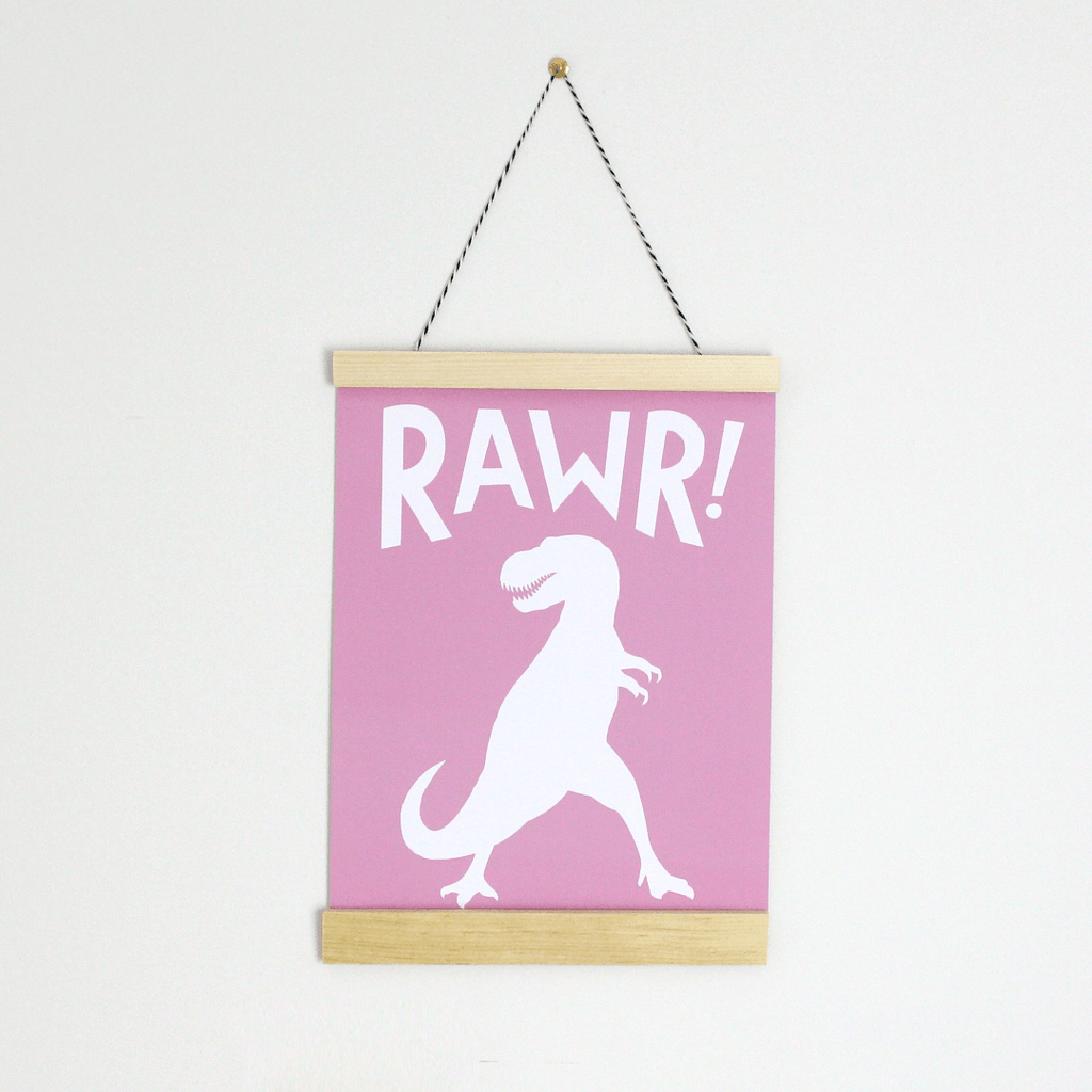 Rawr! Canvas Banner Pink - The Project Nursery Shop - 1