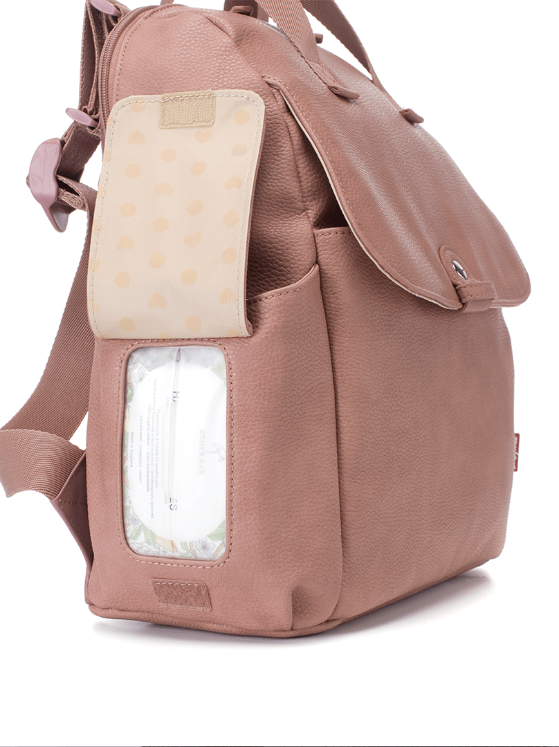 Robyn Faux Leather Diaper Bag - Dusty Rose - Project Nursery