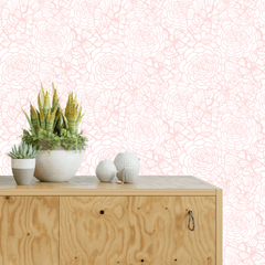 Blush Pink Flower Self-Adhesive Wallpaper - Project Nursery