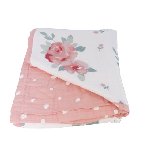 Watercolor Roses Big Kid Cotton Muslin Quilt